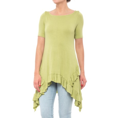 Jewel Shark Bite Ruffle T-Shirt - Short Sleeve (For Women) in Sage