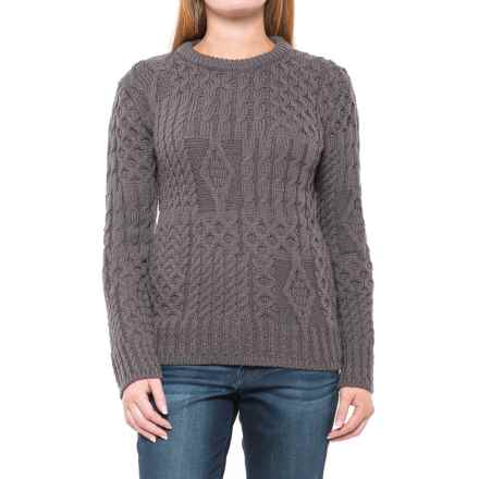 J.G. Glover & CO. Peregrine Aran Sweater - Wool (For Women) in Mole Grey - Closeouts