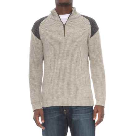 J.G. Glover & CO. Peregrine by J.G. Glover Dave Sweater - Merino Wool, Zip Neck (For Men) in Light Grey - Closeouts