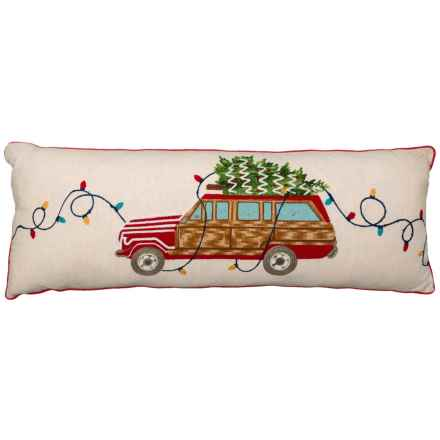 "Jingles & Joy Vintage Car Throw Pillow -14x36"" in Multi - Closeouts"
