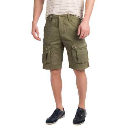 JKL Laundered Cotton Cargo Shorts (For Men) in Army Green - Closeouts