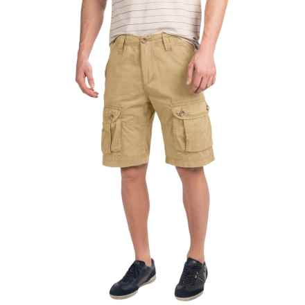 JKL Laundered Cotton Cargo Shorts (For Men) in Khaki - Closeouts
