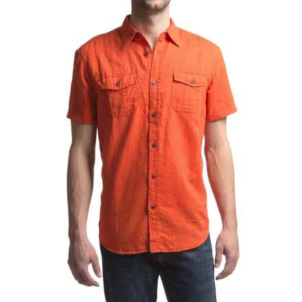 JKL Military Linen-Cotton Shirt - Short Sleeve (For Men) in Red Clay - Closeouts