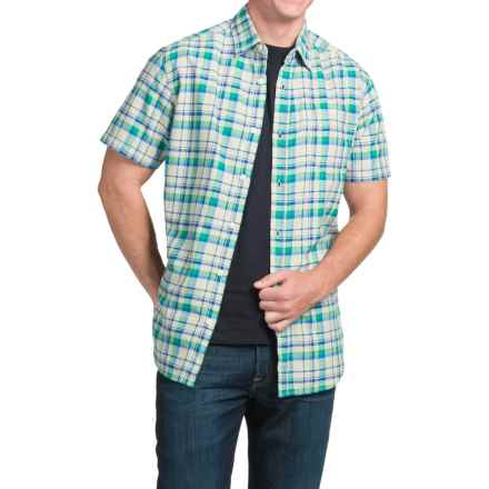 JKL Single-Pocket Plaid Shirt - Short Sleeve (For Men) in Classic Blue/Green - Closeouts