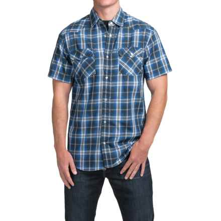 JKL Two-Pocket Plaid Shirt - Short Sleeve (For Men) in Midnight Blue - Closeouts