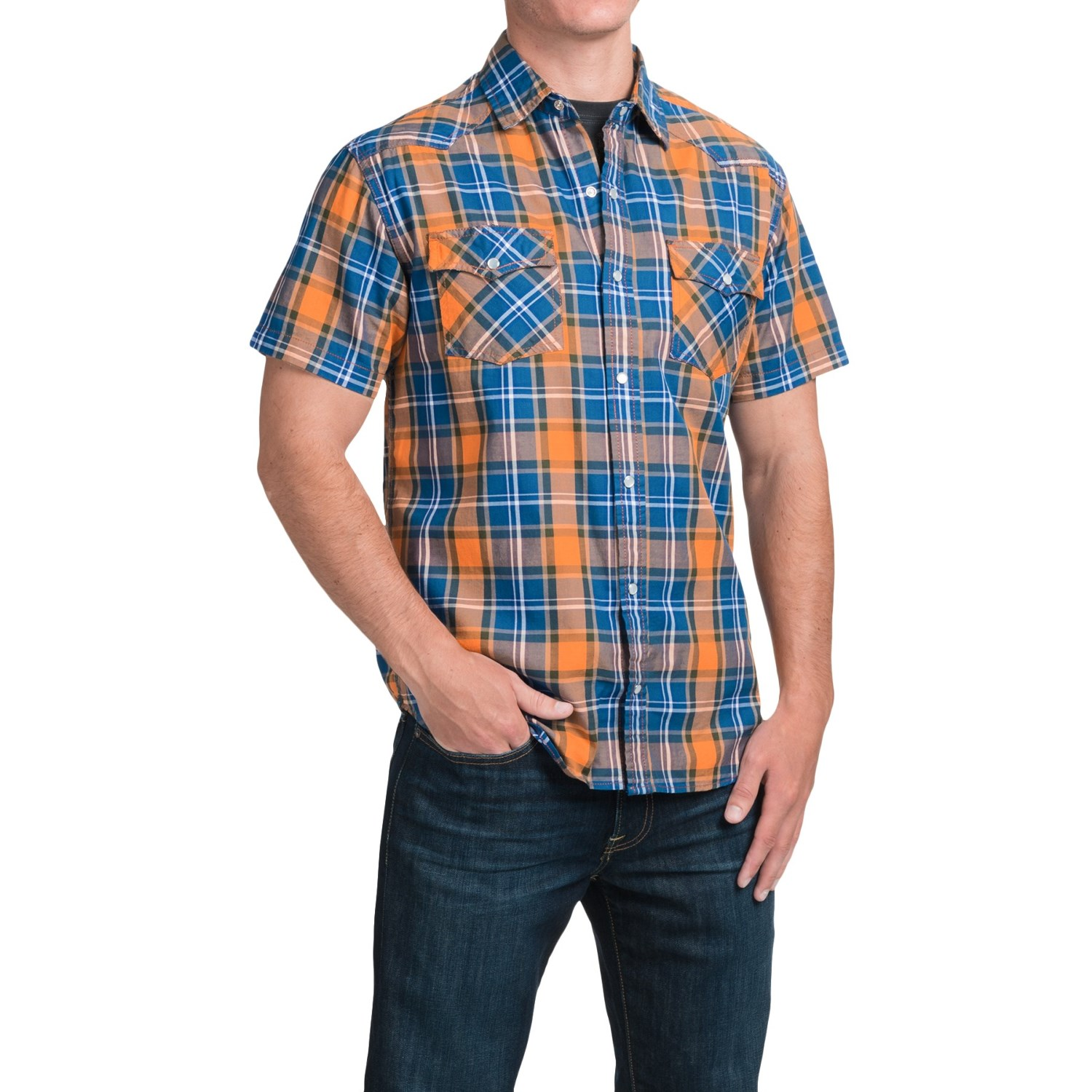 Jkl two pocket plaid shirt for men save 74 Short sleeve plaid shirts