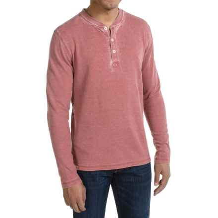 JKL Waffle-Knit Henley Shirt - Long Sleeve (For Men) in Red Dahlia - Closeouts