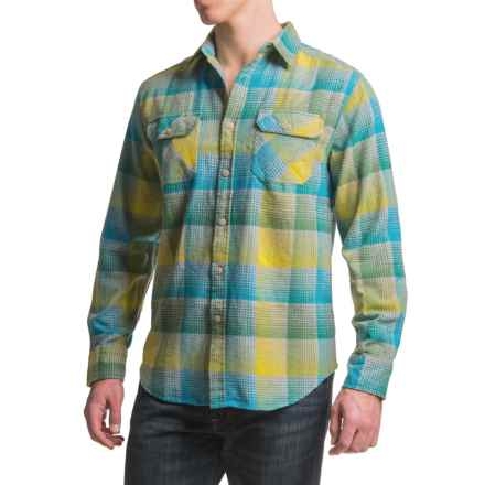 JKL Washed-Cotton Flannel Shirt - Long Sleeve (For Men) in Blue Danube/Yellow - Closeouts