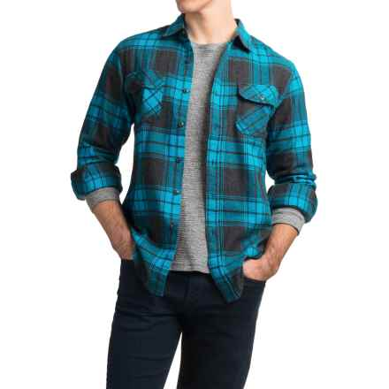 JKL Washed-Cotton Flannel Shirt - Long Sleeve (For Men) in Blue Danube - Closeouts