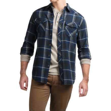 JKL Washed-Cotton Flannel Shirt - Long Sleeve (For Men) in Classic Blue - Closeouts