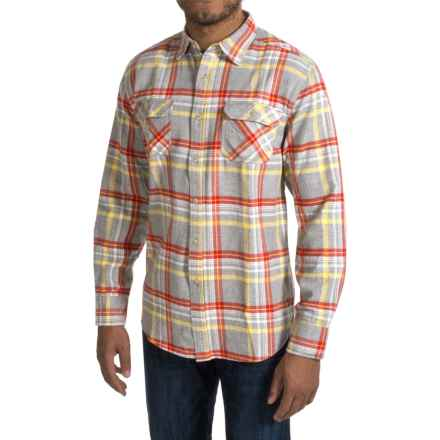 JKL Washed-Cotton Flannel Shirt - Long Sleeve (For Men) in Grey/Core Red - Closeouts