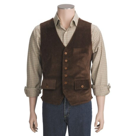 J.L. Powell Corduroy Vest (For Men) in Chocolate