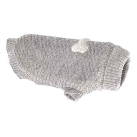 JLA Friends Forever Halo Grey Bone Dog Sweater - Medium in Grey - Closeouts
