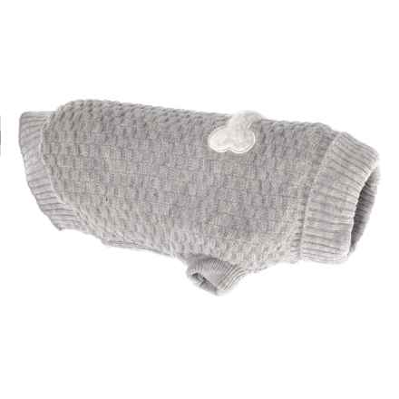 JLA Friends Forever Halo Grey Bone Dog Sweater - Small in Grey - Closeouts