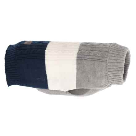 JLA Friends Forever Navy Cable Dog Sweater - Medium in Navy - Closeouts
