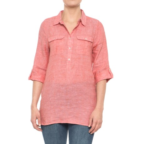 JNY Solid Popover Shirt - Linen, 3/4 Sleeve (For Women) in Coral Dahlia