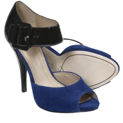 Joan & David Ozya Platform Sandals - Leather, High Heels (For Women) in Black/Blue