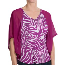Joan Vass Animal Print Flounce Blouse - 3/4 Batwing Sleeve (For Women) in Purple Passion