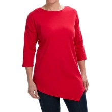 Joan Vass Asymmetric Cotton Tunic Shirt - 3/4 Sleeve (For Women) in Chili Red - Closeouts