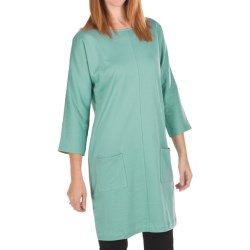 Joan Vass Back Button Dress - Cotton, 3/4 Sleeve (For Women) in Blue