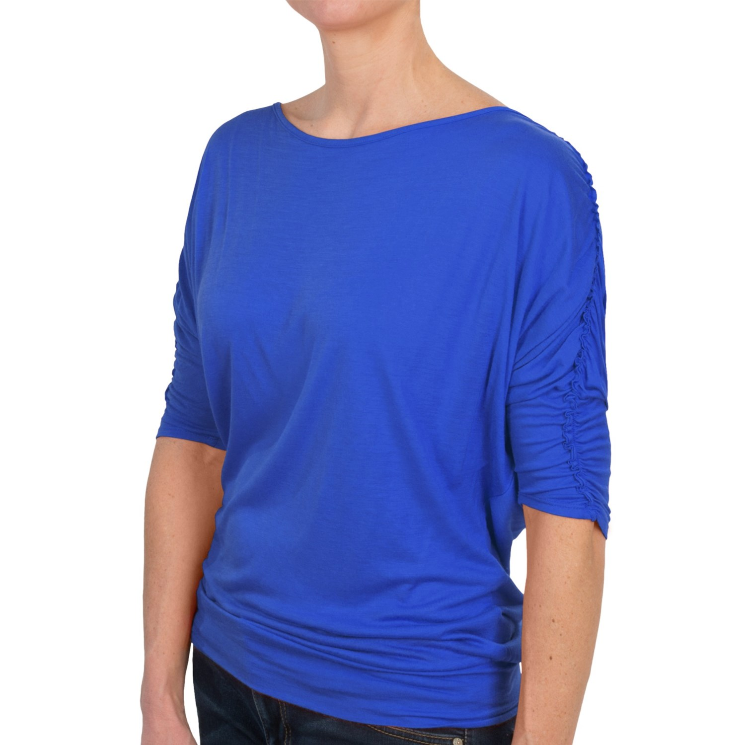 Joan vass ballet neck shirt 3 4 sleeve for women for Ballet neck tee shirts