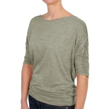 Joan Vass Ballet Neck Shirt - 3/4 Sleeve (For Women) in Olive - Closeouts