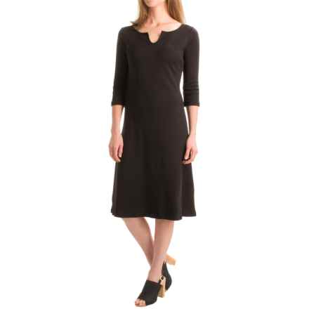 Joan Vass Boat Neck Dress - Elbow Sleeve (For Women) in Black - Closeouts