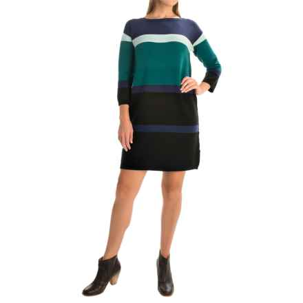 Joan Vass Bold Stripe Dress - 3/4 Sleeve (For Women) in Midnight Combo - Overstock