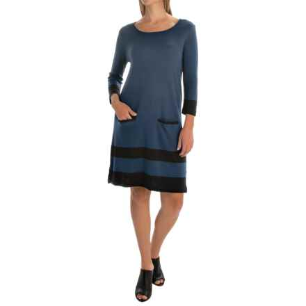 Joan Vass Border Striped Dress - Cotton, 3/4 Sleeve (For Women) in Lapis Blue - Overstock