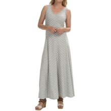 Joan Vass Chevron Stripe Maxi Dress - Sleeveless (For Women) in Grey - Closeouts