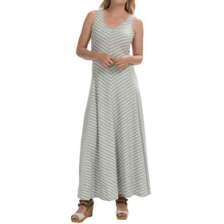 Joan Vass Chevron Stripe Maxi Dress - Sleeveless (For Women) in Grey - Closeouts