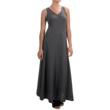 Joan Vass Chevron Stripe Maxi Dress - Sleeveless (For Women) in Indigo - Closeouts