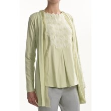 Joan Vass Chiffon-Trim Cardigan Sweater - Lightweight (For Women) in Spearmint - Closeouts