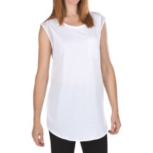 Joan Vass Chiffon Trim Tunic Shirt - Sleeveless (For Women) in Bright White - Closeouts
