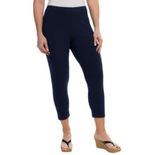 Joan Vass Classic Crop Leggings - Modal-Cotton (For Women) in Navy - Closeouts