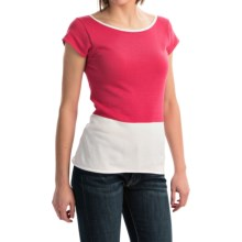 Joan Vass Color-Block Cotton Shirt - Short Sleeve (For Women) in Raspberry - Closeouts
