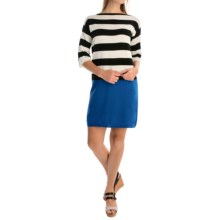 Joan Vass Color-Block Knit Dress - Elbow Sleeve (For Women) in Black - Overstock