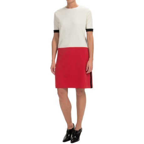 Joan Vass Color Blocked Cotton Dress Short Sleeve (For Women)