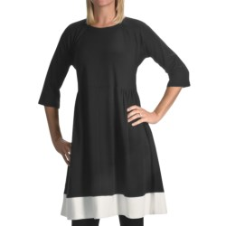 Joan Vass Color-Blocked Dress - 3/4 Sleeve (For Women) in Black