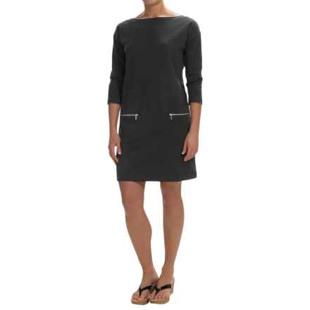 Joan Vass Cotton Boat Neck Dress - 3/4 Sleeve (For Women) in Black - Closeouts