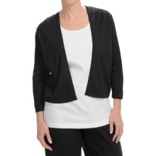 Joan Vass Cotton Cardigan Sweater - 3/4 Sleeve (For Women) in Black - Closeouts