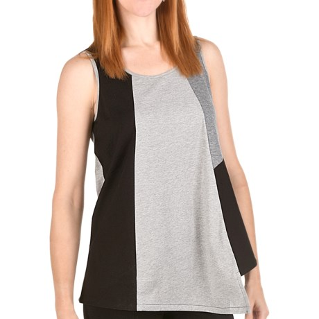Joan Vass Cotton Color-Block Tunic Shirt - Sleeveless (For Women) in Black