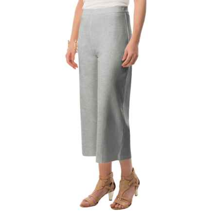 Joan Vass Cotton Crop Pants - Elastic Pull-On Waist (For Women) in Grey Heather - Closeouts