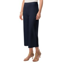 Joan Vass Cotton Crop Pants - Elastic Pull-On Waist (For Women) in Navy - Closeouts