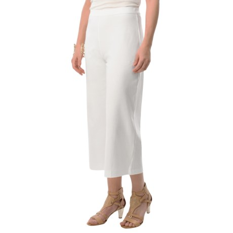 Joan Vass Cotton Crop Pants Elastic Pull On Waist For Women