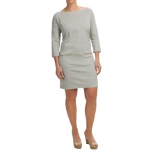 Joan Vass Cotton Knit Pocket Dress - 3/4 Sleeve (For Women) in Grey Heather - Closeouts