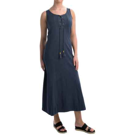 Joan Vass Cotton Maxi Dress - Sleeveless (For Women) in Denim - Closeouts