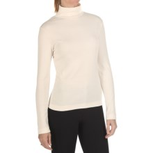 Joan Vass Cotton Mock Turtleneck - Long Sleeve (For Women) in Seasalt - Closeouts