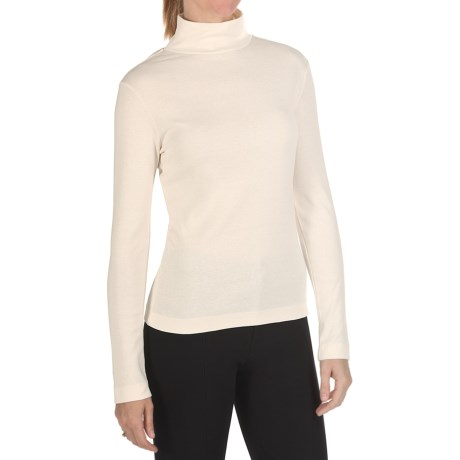 Joan Vass Cotton Mock Turtleneck - Long Sleeve (For Women) in Seasalt