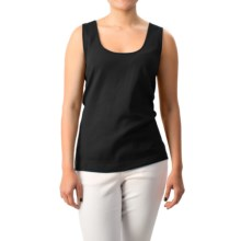 Joan Vass Cotton Shell Tank Top - Scoop Neck (For Women) in Black - Closeouts